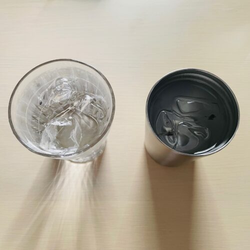 water-in-a-glass-and-water-in-a-stainless-tumbler